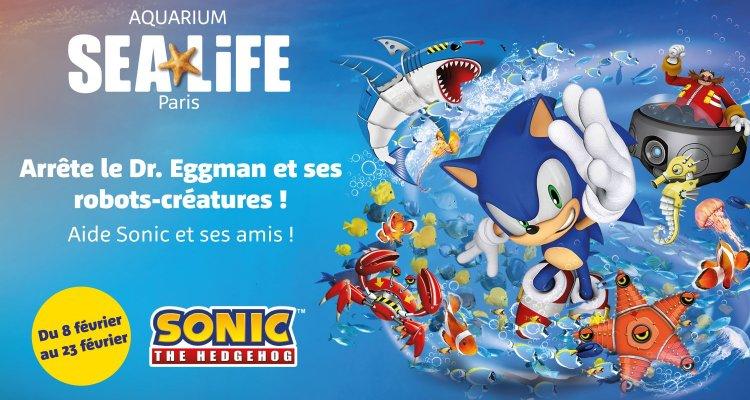 « CET HIVER, SONIC S'INVITE DANS L'AQUARIUM SEA LIFE PARIS  Du 8 février au 23 février, les enfants ont pour mission d'arrêter le Dr. Eggman et ses robots créatures !  Venez découvrir en famille plus 2250 créatures dont des tortues, requins, manchots et bien plus encore.  Toute l'équipe Sea Life vous attend !